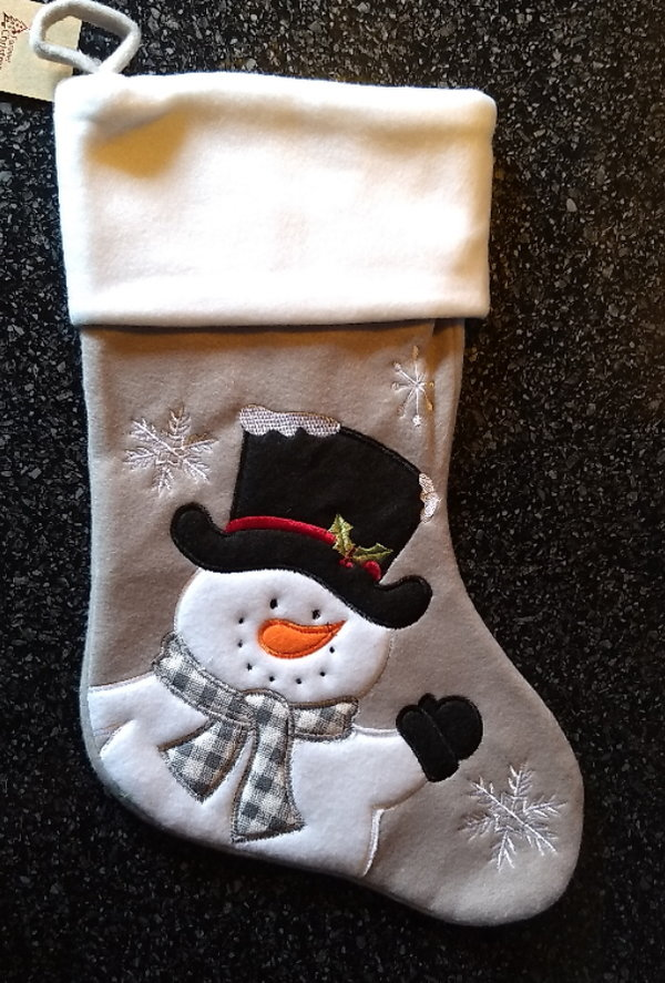Christmas Stocking (grey Snowman)