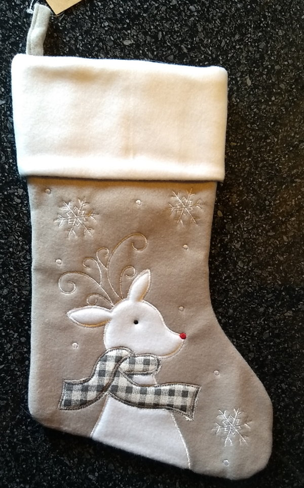 Christmas Stocking (grey reindeer)